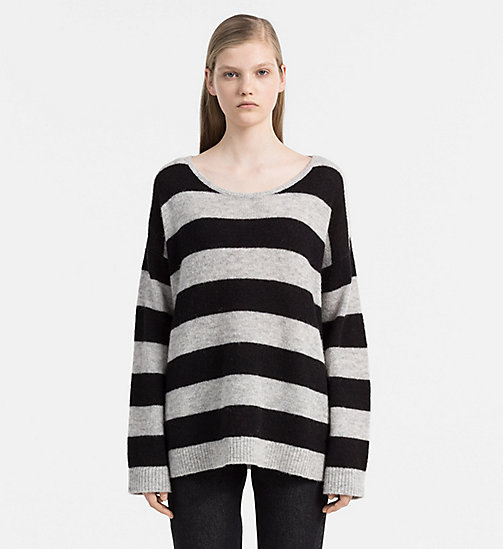 CALVIN KLEIN JEANS Alpaca Wool Striped Sweater - CK BLACK / LIGHT GREY HEATHER - CALVIN KLEIN JEANS JUMPERS - main image