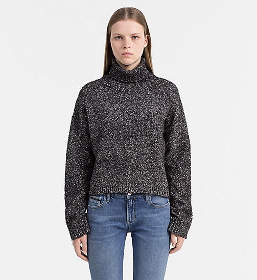 CALVIN KLEIN JEANS Heathered Roll Neck Sweater - CK BLACK HEATHER - CALVIN KLEIN JEANS COLD COMFORTS - main image