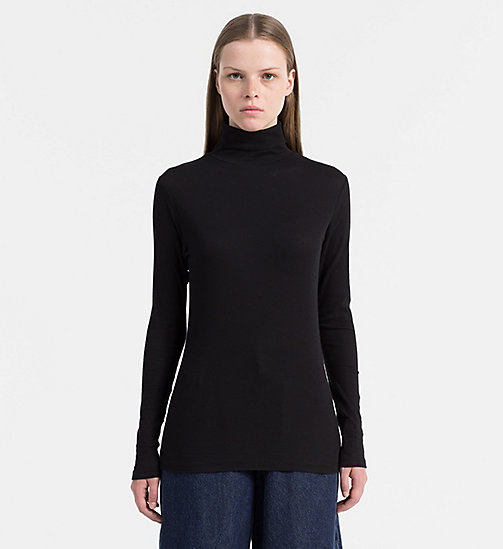 CALVIN KLEIN JEANS Rib-Knit Turtleneck Top - CK BLACK - CALVIN KLEIN JEANS NEW ARRIVALS - main image