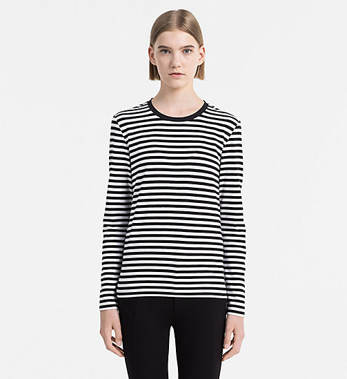 CALVIN KLEIN JEANS Striped Top - BRIGHT WHITE / CK BLACK - CALVIN KLEIN JEANS COLD COMFORTS - main image