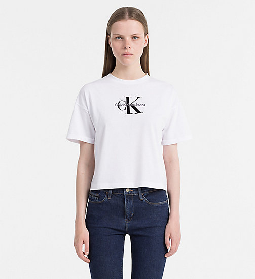 CALVIN KLEIN JEANS Cropped Logo T-shirt - BRIGHT WHITE - CALVIN KLEIN JEANS GIFTS FOR HER - main image