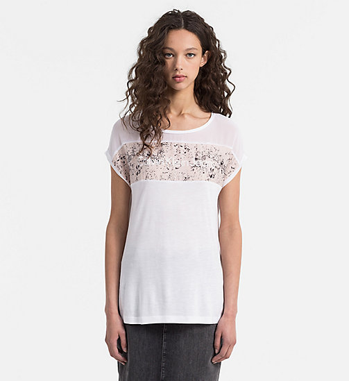 CALVIN KLEIN JEANS Material Mix Logo T-shirt - BRIGHT WHITE - CALVIN KLEIN JEANS 24/7 STAPLES - main image