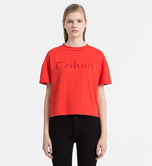 CALVIN KLEIN JEANS Cropped Logo T-shirt - FLAME SCARLET - CALVIN KLEIN JEANS CLOTHES - main image
