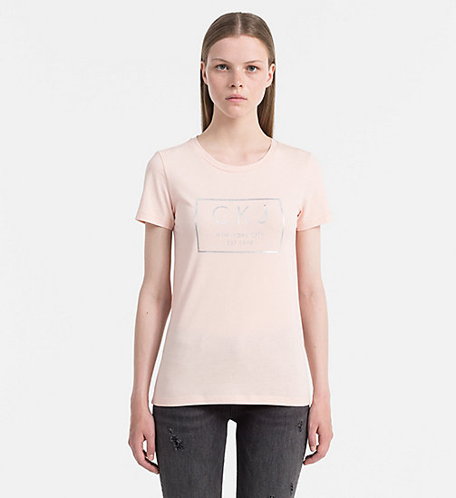 CALVIN KLEIN JEANS Metallic Logo T-shirt - PEACHY KEEN - CALVIN KLEIN JEANS GIFTS FOR HER - main image
