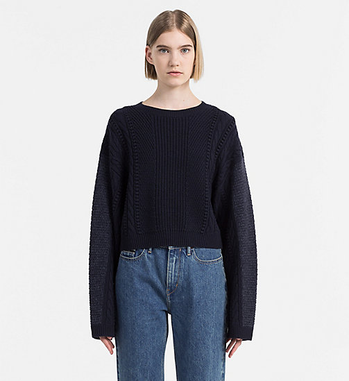 CALVIN KLEIN JEANS Mohair Wool Cable Sweater - PEACOAT - CALVIN KLEIN JEANS NEW ARRIVALS - main image