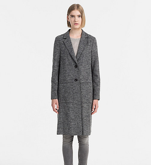 CALVIN KLEIN JEANS Melange Wool Coat - CK BLACK HEATHER - CALVIN KLEIN JEANS COATS - main image
