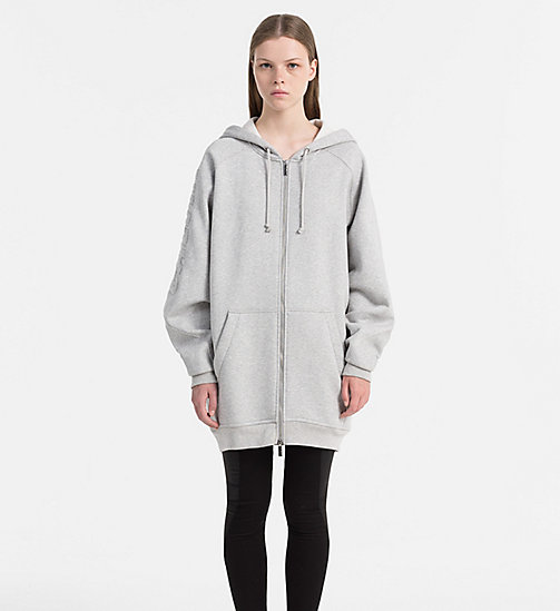 CALVIN KLEIN JEANS Zip-Through Logo Hoodie - LIGHT GREY HEATHER - CALVIN KLEIN JEANS GIFTS FOR HER - main image