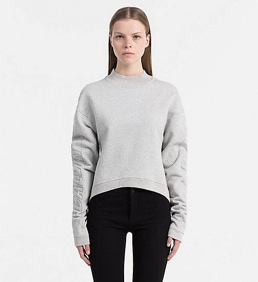 CALVIN KLEIN JEANS Turtleneck Logo Sweatshirt - LIGHT GREY HEATHER - CALVIN KLEIN JEANS SWEATSHIRTS - main image