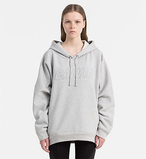 Oversized Logo-Kapuzenpullover - LIGHT GREY HEATHER - CALVIN KLEIN JEANS UNTERWÄSCHE - main image