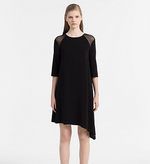 CALVIN KLEIN JEANS Satin Asymmetric Dress - CK BLACK - CALVIN KLEIN JEANS DRESSES - main image