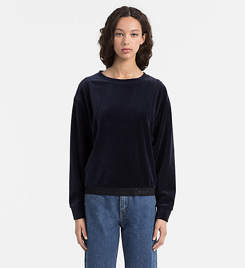Sweat-shirt en velours - DARK BLUE DENIM - CALVIN KLEIN JEANS SOUS-VÊTEMENTS - image principale