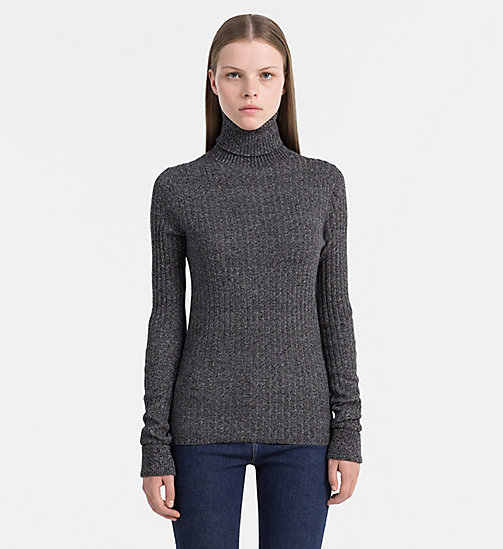 CALVIN KLEIN JEANS Cotton Silk Roll Neck Sweater - CK BLACK HEATHER - CALVIN KLEIN JEANS JUMPERS - main image