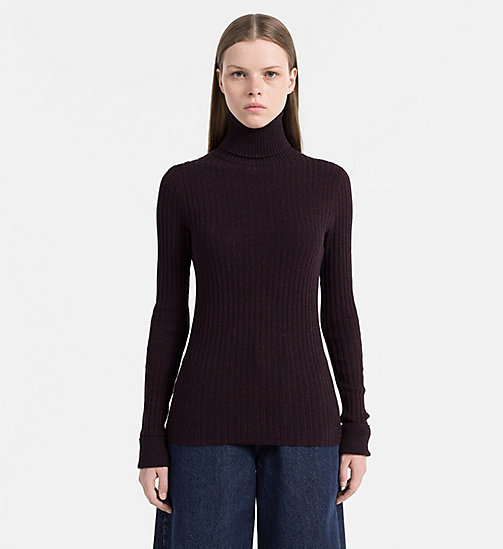 CALVIN KLEIN JEANS Cotton Silk Roll Neck Sweater - FIG - CALVIN KLEIN JEANS JUMPERS - main image
