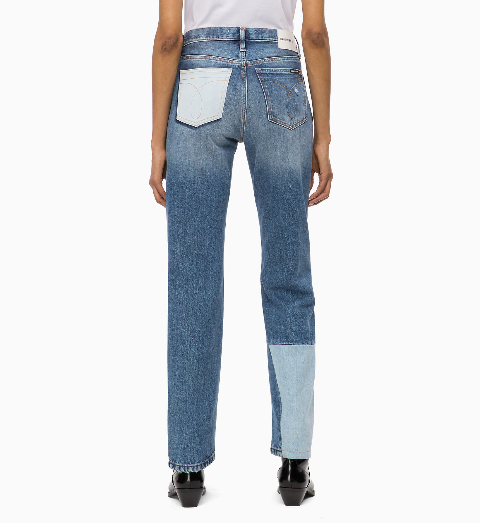 Calvin Klein CKJ 030 High Rise Straight Patched Jeans at £120  248d305a9b