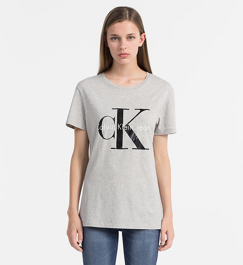 CALVIN KLEIN JEANS Slim Logo T-shirt - LIGHT GREY HEATHER - CALVIN KLEIN JEANS CLOTHES - main image