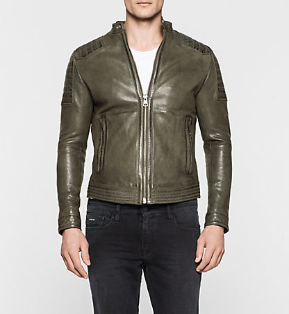 CALVIN KLEIN JEANS Leather Biker Jacket - Leto J30J300103346