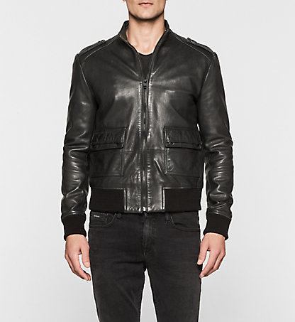 CALVIN KLEIN JEANS Leather Biker Jacket - Major J30J300584099