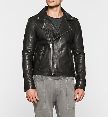 CALVIN KLEIN JEANS Leather Biker Jacket - Mission J30J300586099