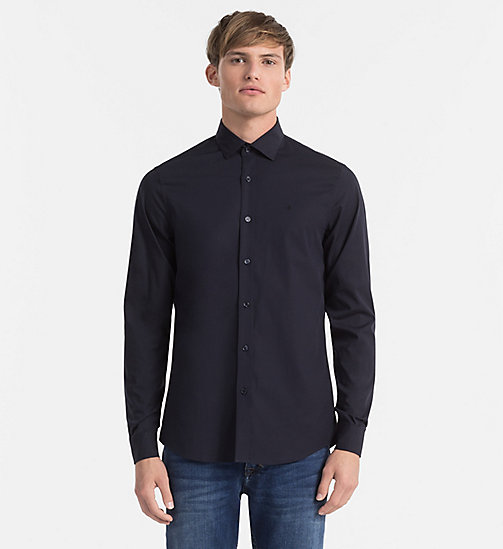 CALVIN KLEIN JEANS Slim Cotton-Stretch Shirt - NIGHT SKY - CALVIN KLEIN JEANS CLOTHES - main image