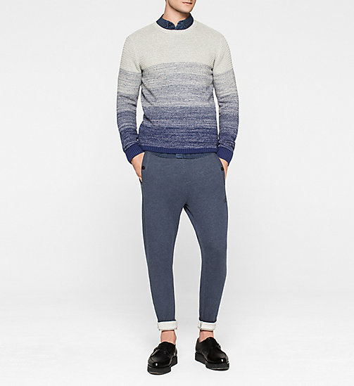 CALVINKLEIN Colourblock-Pullover - LIGHT GREY HEATHER / BLUE PRINT - CK JEANS PULLOVER - main image 1