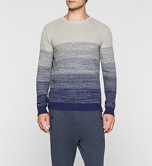 CKJEANS Colourblock Sweater - LIGHT GREY HEATHER / BLUE PRINT - CK JEANS JUMPERS - main image