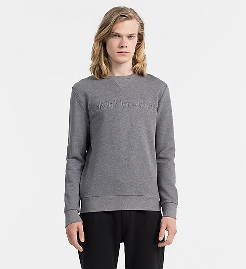 CALVIN KLEIN JEANS Embossed Logo Sweatshirt - MID GREY HEATHER - CALVIN KLEIN JEANS 24/7 STAPLES - main image