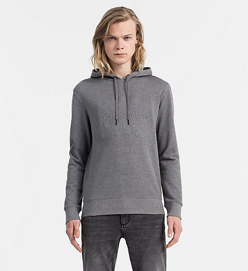 CALVIN KLEIN JEANS Embossed Logo Hoodie - MID GREY HEATHER - CALVIN KLEIN JEANS CLOTHES - main image