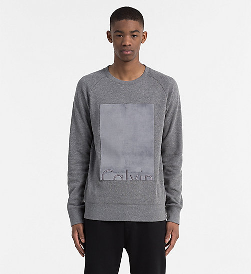 CALVIN KLEIN JEANS Velours Logo Sweatshirt - MID GREY HEATHER - CALVIN KLEIN JEANS NEW ARRIVALS - main image