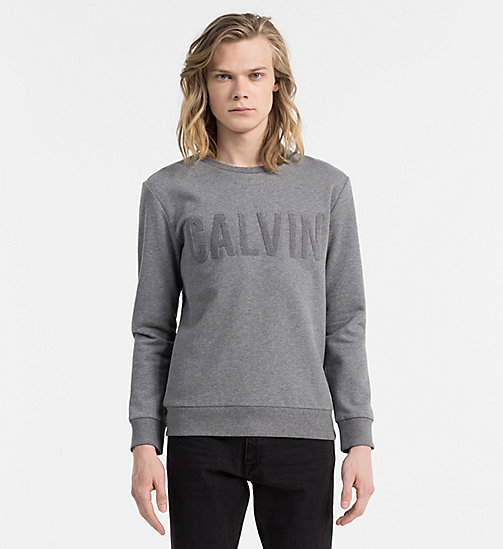CALVIN KLEIN JEANS Logo Applique Sweatshirt - MID GREY HEATHER - CALVIN KLEIN JEANS CLOTHES - main image
