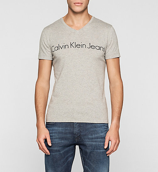 T-shirt logo vestibilità regular - LIGHT GREY HEATHER - CK JEANS T-SHIRT - immagine principale