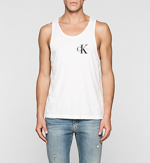 Linen Blend Tank Top - BRIGHT WHITE - CK JEANS T-SHIRTS - main image