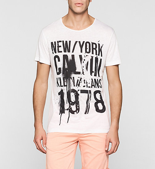 T-shirt aderente in misto lino taglio regular - BRIGHT WHITE - CK JEANS T-SHIRT - immagine principale
