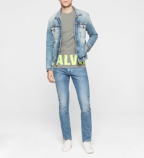 CKJEANS Slim Logo-T-Shirt - MID GREY HEATHER / SHARP GREEN - CK JEANS  - main image 1