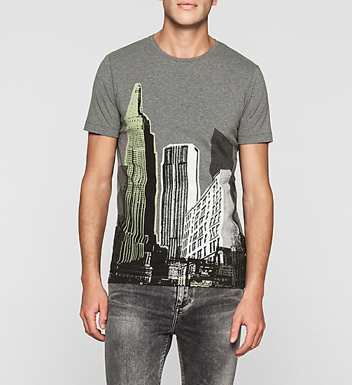 CKJEANS Slim Printed T-shirt - MID GREY HEATHER - CK JEANS MEN - main image