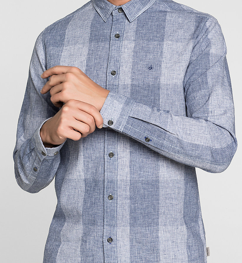 CKJEANS Regular Linen Blend Check Shirt - MID INDIGO - CK JEANS SHIRTS - detail image 2