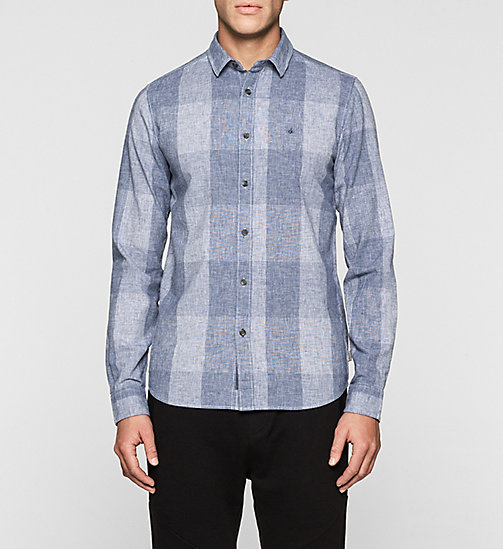 CKJEANS Regular Linen Blend Check Shirt - MID INDIGO - CK JEANS MEN - main image