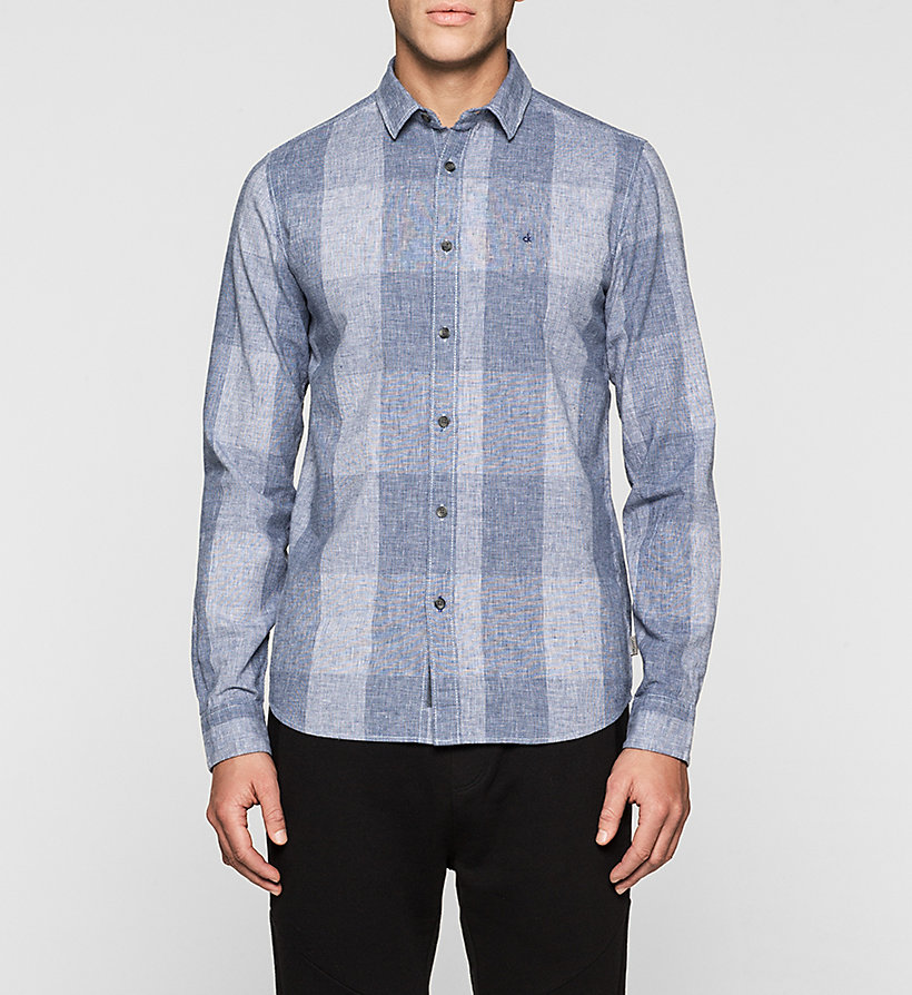 CKJEANS Regular Linen Blend Check Shirt - MID INDIGO - CK JEANS SHIRTS - main image
