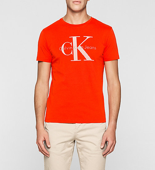 CKJEANS Regular Logo T-shirt - FIERY RED WASHED - CK JEANS T-SHIRTS - main image