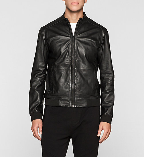 Leather Biker Jacket - TOMMY BLACK - CK JEANS JACKETS - main image