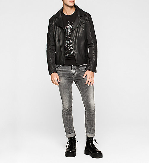 Material Mix Biker Jacket - CK BLACK - CK JEANS JACKETS - detail image 1