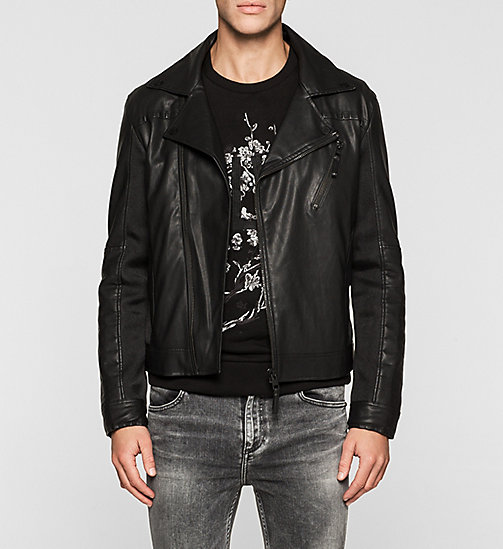 Material Mix Biker Jacket - CK BLACK - CK JEANS JACKETS - main image