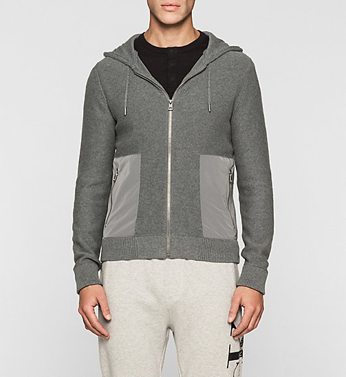 CKJEANS Hooded Zip Cardigan - MID GREY HEATHER - CK JEANS MEN - main image