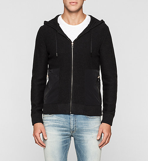 Hooded Zip Cardigan - CK BLACK - CK JEANS JUMPERS - main image