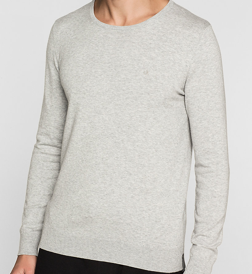 CKJEANS Cotton Stretch Sweater - LIGHT GREY HEATHER - CK JEANS JUMPERS - detail image 2