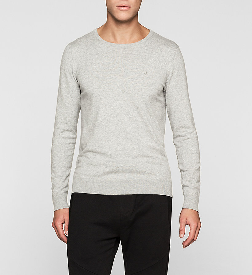 CKJEANS Cotton Stretch Sweater - LIGHT GREY HEATHER - CK JEANS JUMPERS - main image