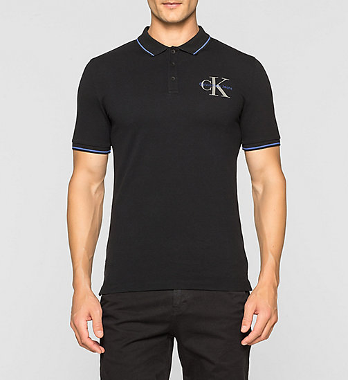 Slim Cotton Piqué Polo - CK BLACK - CK JEANS POLO SHIRTS - main image