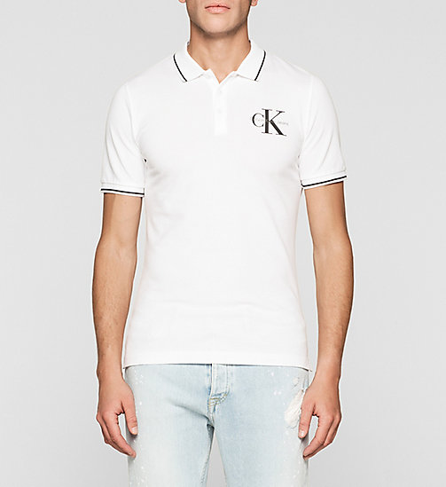 Slim Cotton Piqué Polo - BRIGHT WHITE - CK JEANS POLO SHIRTS - main image