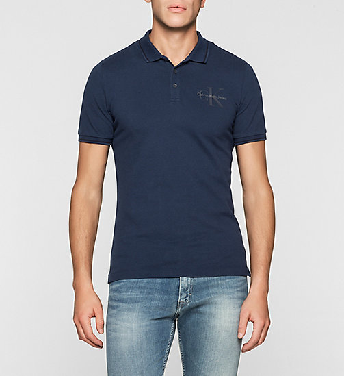 Slim Cotton Piqué Polo - MID INDIGO - CK JEANS POLO SHIRTS - main image