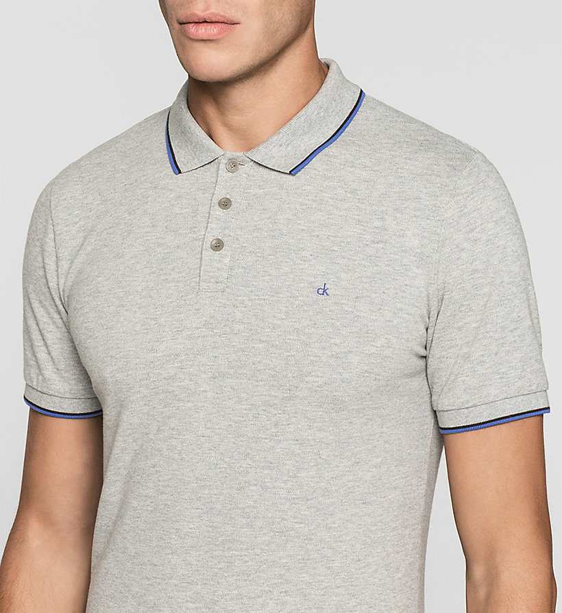 CKJEANS Slim Cotton Piqué Polo - GREY HEATHER - CK JEANS CLOTHES - detail image 2