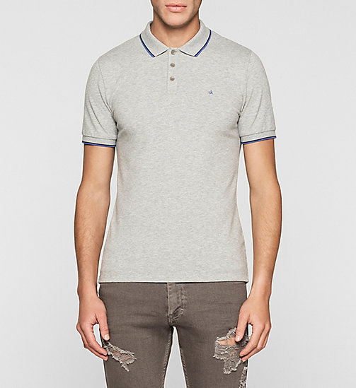 Slim Cotton Piqué Polo - GREY HEATHER - CK JEANS POLO SHIRTS - main image